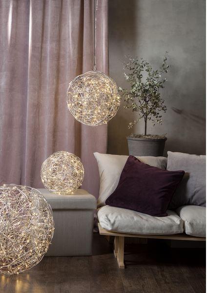 LED 3D Designkugel 37,50cm - aus Silberdraht mit 100 warmweißen LEDs - indoor&outdoor