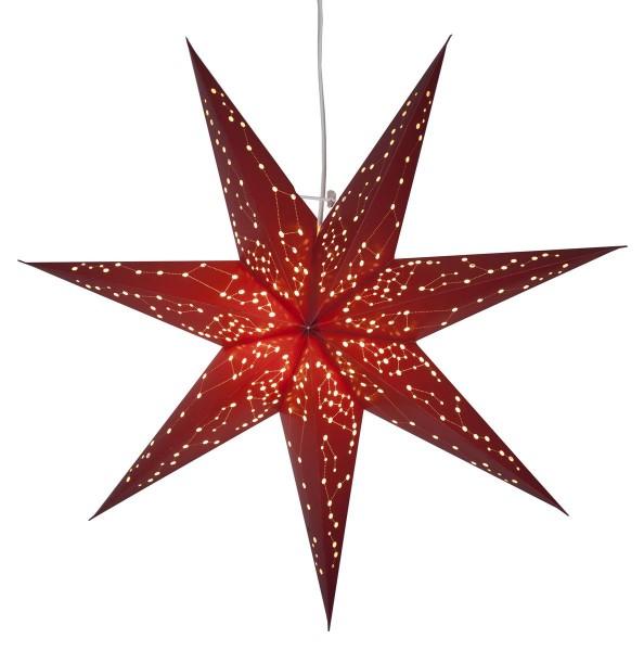 """Papierstern """"Galaxy"""" - mit Sternenbildern - hängend - 7-zackig - Ø 60 cm - inkl. Kabel - rot"""