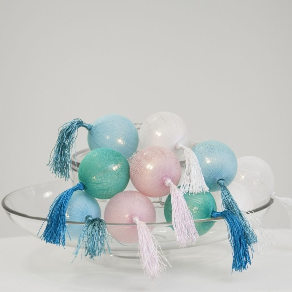 """LED Ball Lichterkette """"Tassel"""" - 10 pastellfarbene Bälle - warmweiße LED - L: 1,35m - Batterie"""