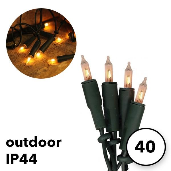 Außen-Lichterkette 40 Pisello Glühlampen 10m - IP44 - grünes Kabel - inkl. Trafo 230V/50Hz