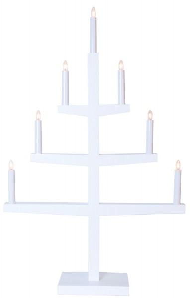 """Kerzenleuchter """"Tripp"""" - 7 Arme - warmweiße Glühlampen - H: 77cm, L: 49cm - Schalter - Weiß"""