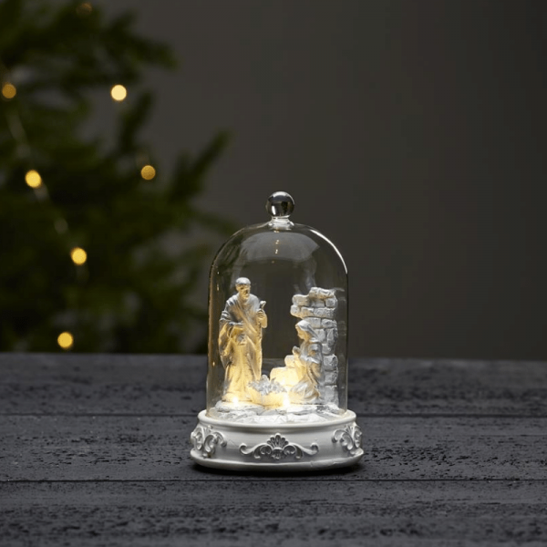 "LED-Kuppel ""Nativity"" - Krippenszene mit Glaskuppel - 3 warmweiße LED - H: 19cm - weiß"