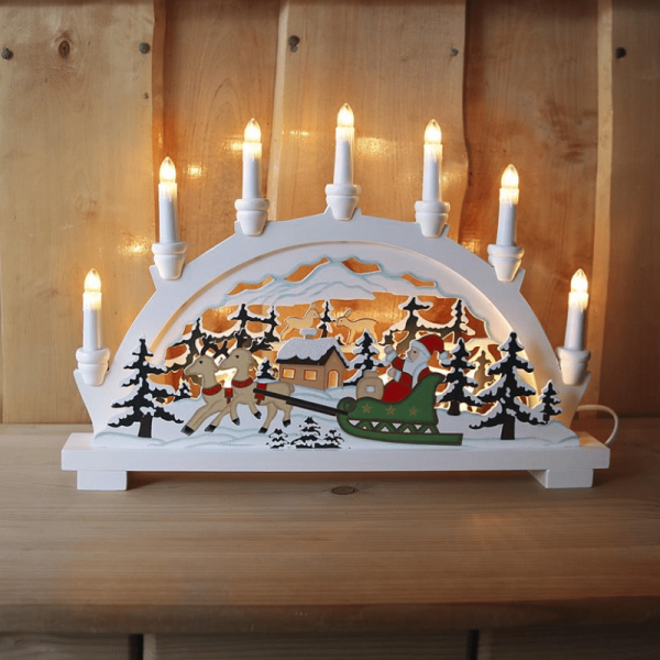 """Lichterbogen """"Ansbach - Weihnachtsmann im Schlitten - 7flammig - klare Glühlampen - weiß"""
