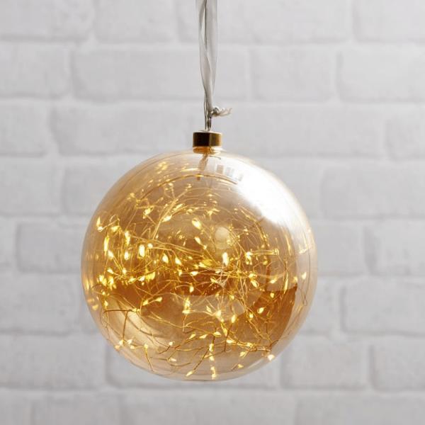 Glaskugel GLOW - amber Glas - 80 warmweiße LED am Draht - D: 20cm - inkl. Trafo - 3m Kabel