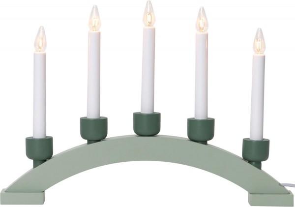 """Lichterbogen """"Paint Greenway"""" - 5flammig - 5 warmweiße Glühlampen - L: 41cm, H: 28,5cm - Holz - Grün"""