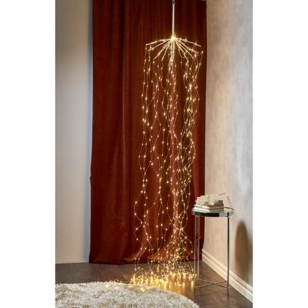 "LED Lichterbouquet/Lichtervorhang ""Dew Drops"" - 20 Stränge á 30 LED - H: 3,2m, D: 45cm - silber"