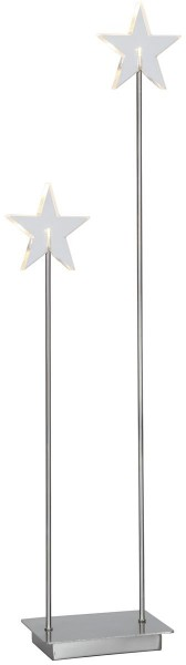 "LED-Standleuchte Stern ""Karla Duo"" transparent / silber, 2 warmwhite LED ca. 72x21 cm, mit Trafo Vierfarb-Karton"