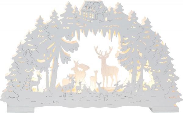 """LED-Fensterleuchter """"Fauna"""" - Waldtiere - 10 warmweiße LED - H: 26cm - Batteriebetrieb - weiß"""