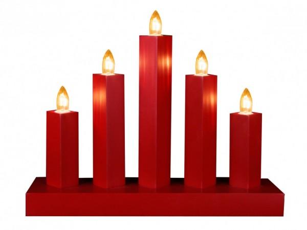 """Fensterleuchter """"RAK"""" - 5flammig - warmweiße Glühlampen - H: 22cm, L: 27cm - Schalter - Rot"""