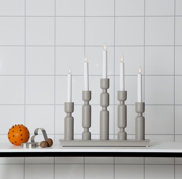"Fensterleuchter ""Uddebo"" - 5flammig - warmweiße LEDs - H: 44cm, L. 37cm - Schalter - Grau"