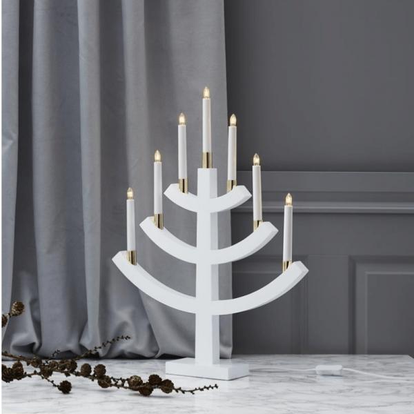 """Kerzenleuchter """"Gillian"""" - 7 Arme - warmweiße Glühlampen - H: 64cm, L: 49cm - Schalter - Weiß/Gold"""