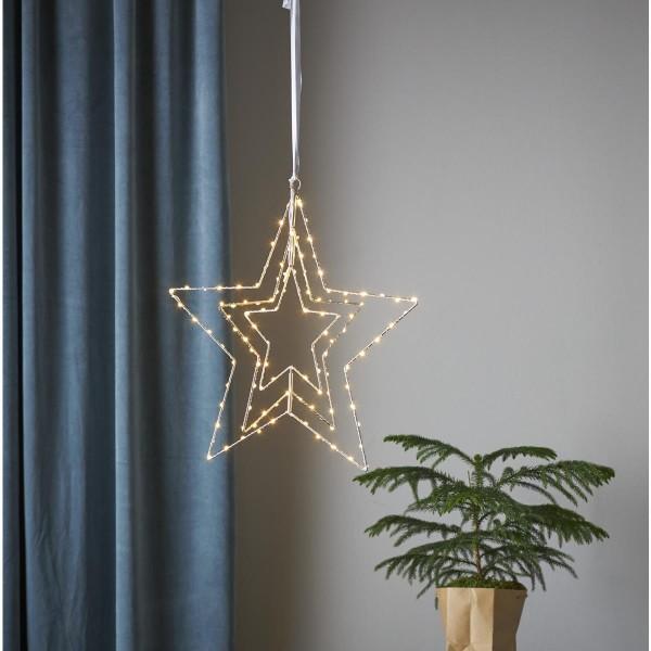 "LED Metallstern/Leuchtstern ""Triple"" - hängend - 110 warmweiße LED - D: 45cm - 3D Optik - silber"