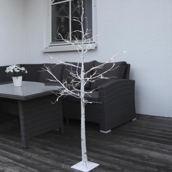 LED-Lichtbaum Tobby - 60 warmweiße LED - H: 150cm - mit Standfuß - outdoor - weiß