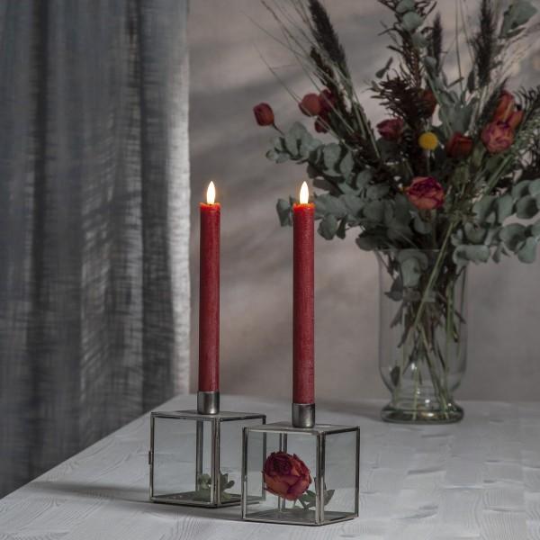 "LED Stabkerze ""Flamme"" - Echtwachs - warmweiße LED - H: 24,5cm - Timer - rot - 2er Set"
