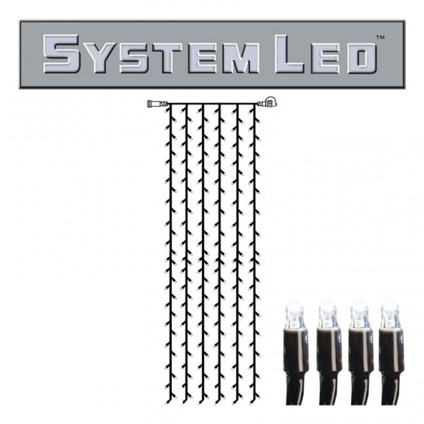 System LED Black | Lichtvorhang | koppelbar | exkl. Trafo | 1.00m x 4.00m | 204x Kaltweiß