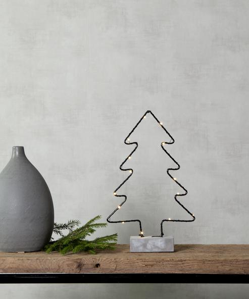 """LED-Drahtbaum """"Cemmy"""" - 15 warmweiße LEDs - H: 35cm - stehend - Batteriebetrieb - schwarz/grau"""