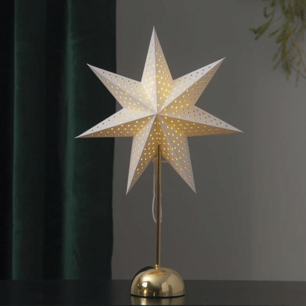 """Papierstern """"Lottie"""" - stehend - 7-zackig - 50 warmweiße LED - Ø 35cm, H: 55cm - creme/gold"""