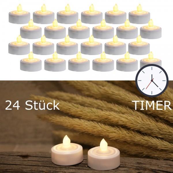 LED Teelicht 24er Set | Paulo | flackernde LED | ↑ 3,5cm | inkl. Timer, inkl Batterien