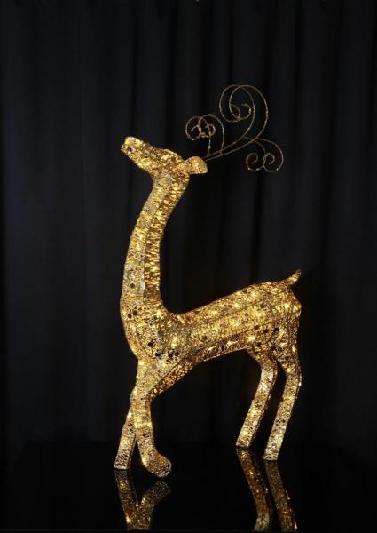 """LED-Rentier mit Pailletten,""""Sequini"""" - 96 warmweiße LEDs - goldene Pailletten - H: 115cm - outdoor"""