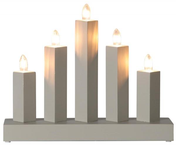 """Fensterleuchter """"RAK"""" - 5flammig - warmweiße Glühlampen - H: 22cm, L: 27cm - Schalter - Grau"""