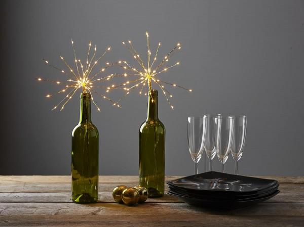 "LED-Lichterbouquet ""Firework"" - gold - 20 Äste, 60 daylight LEDs - H: 42cm - Batterie - Timer"