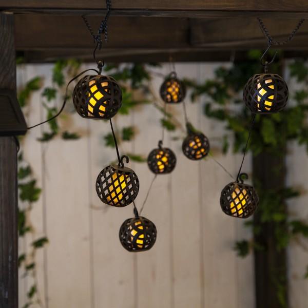 LED Solar Lichterkette - Feuersimulation - 8 beleuchtete Kugeln - L: 2,1m - outdoor
