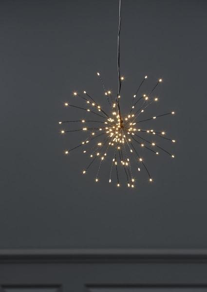 "3D-LED-Hängestern ""Firework"" - 120 warmweiße LED - schwarz - D: 26cm - Material: Metall"
