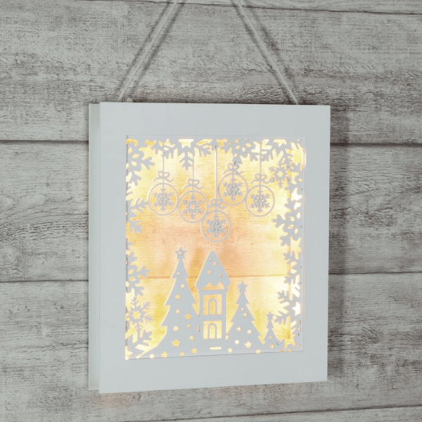 "LED-Wandbild ""Wald"" - hängend & stehend - 8 warmweiße LED - Holz - Batteriebetrieb - Timer - weiß"