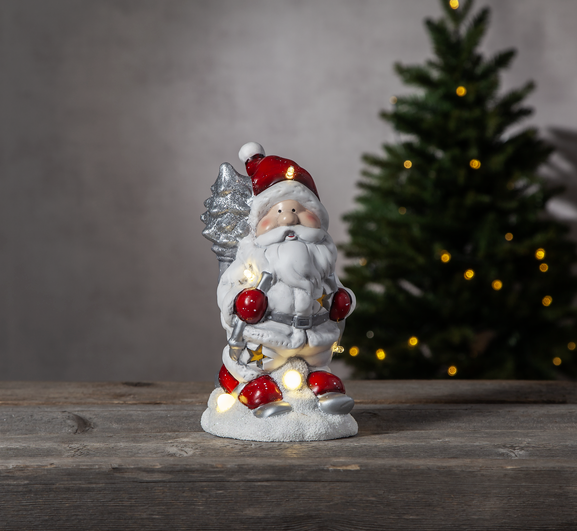 "LED Keramik Figur ""Friends"" - Santa/Weihnachtsmann - 6 warmweiße LED - H: 23cm - Batteriebetrieb"