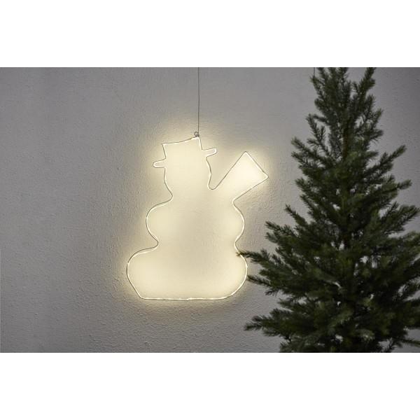 """LED-Silhouette """"Lumiwall"""" - Schneemann - 60 warmweiße LEDs auf Metallrahmen - H: 50cm - outdoor"""
