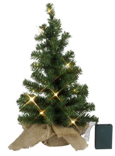 """LED-Tannenbaum """"Toppy"""" - im Jute-Sack - H: 45cm, D: 25cm  - 10 warmweiße LEDs - Timer - Batterie"""