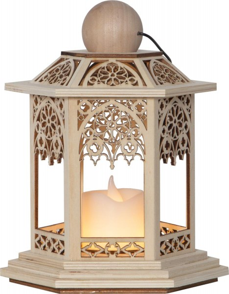 "LED Laterne ""Lace"" - inkl. LED-Kerze - flackernde LED - Timer - Batteriebetrieb - H: 20cm - braun"