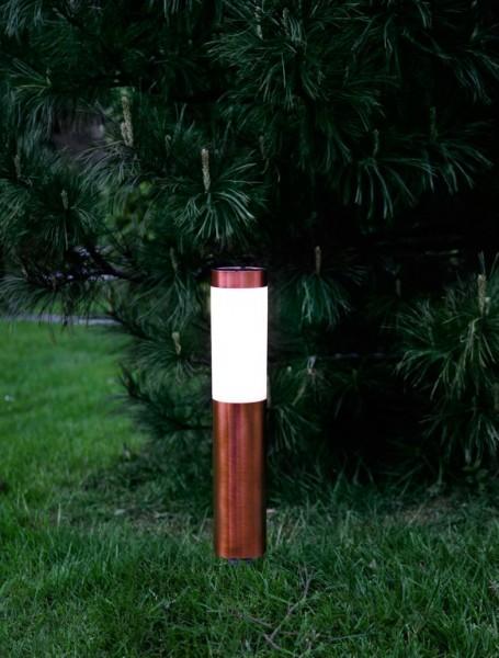 "LED-Solar-Wegleuchte - ""Cordoba"" - kupferfarben - →8 x ↑40cm - 1x Warmweiß - Dämmerungssensor"