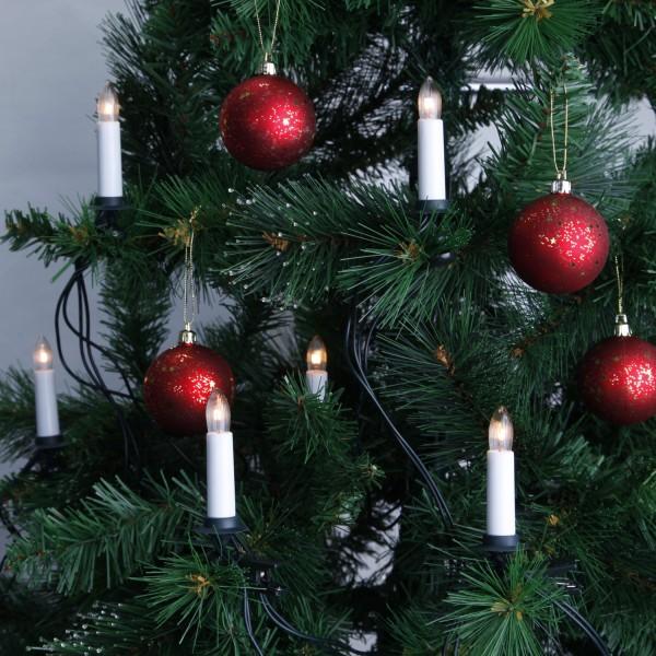 Kerzenkette - 16 warmweiße Kerzen - Indoor - Strang - E10 Fassung - H: 11cm, L: 7,50m - weiß