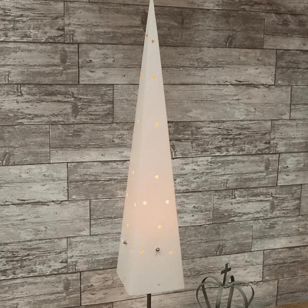 """Dekoleuchte """"Top"""" - Pyramide - stehend - H: 80cm - E14 Fassung - inkl. Kabel - weiß"""
