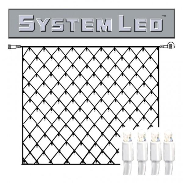 System LED White | Lichtnetz | koppelbar | exkl. Trafo | 3,00 mx 3,00m | 192x Kaltweiß