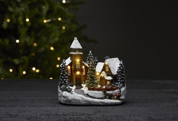 "LED-Kirche ""Churchville"" - bunt - 7 warmweiße LEDs - ↑18cm"