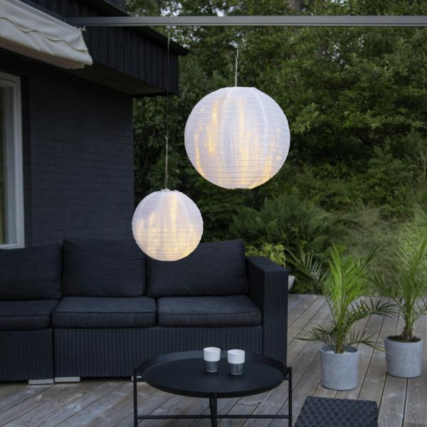 Lampion aus Papier - weiß - D: 30cm - für Hängefassungen oder Lichterketten - outdoor