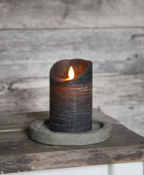 LED-Kerze   Echtwachs   Glim   mechanische Flamme   Timer   ↑13cm   Anthrazit