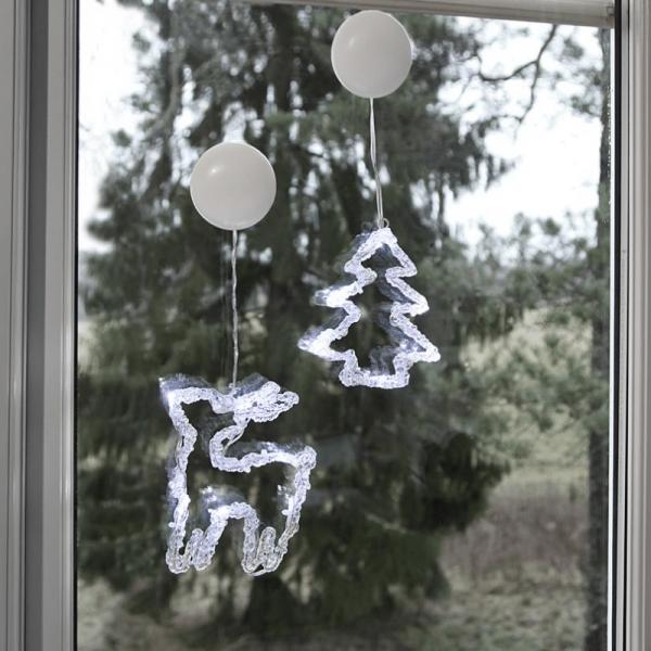 "LED-Fensterdeko ""Iceglow"" - Baum & Rentier - je 6 kaltweiße LED - 2er Set - kristallines Acryl"