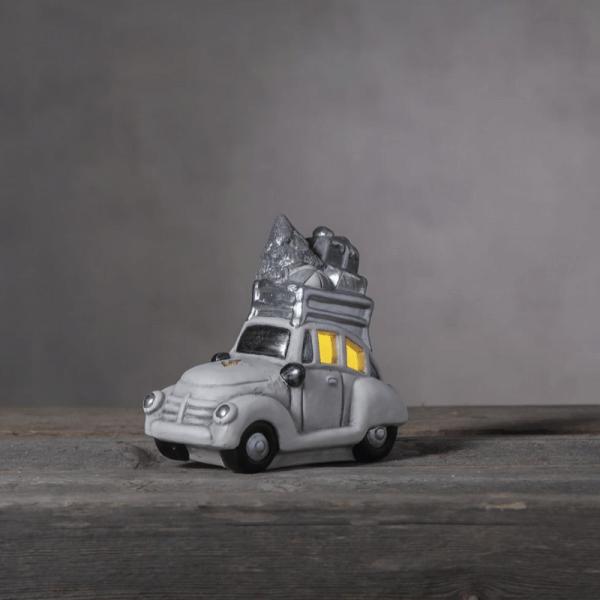 "LED Keramik Figur ""Friends"" - weiß/silbernes Auto - 1 warmweiße LED - H: 15cm - Batteriebetrieb"