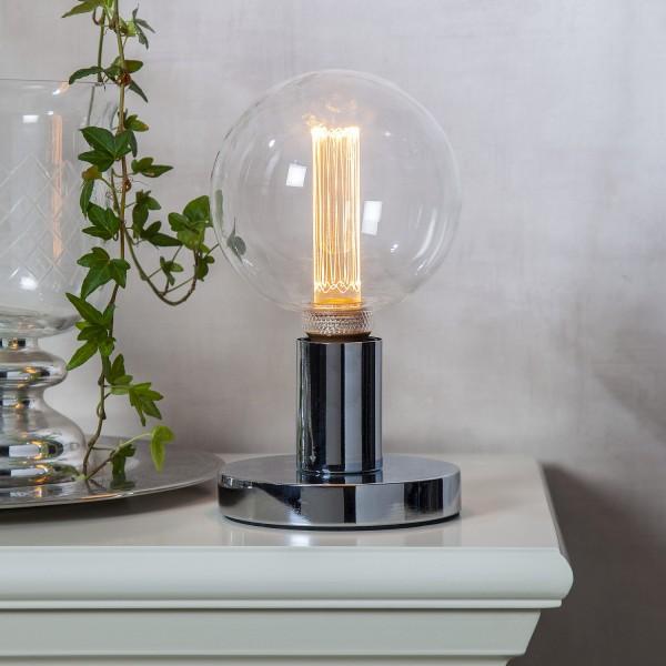 Lampenhalterung GLANS - Tischleuchte - E27 - rund - stehend - Kabel mit Schalter - silber