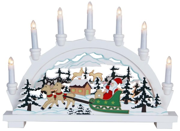 """Fensterleuchter """"Ansbach"""" ca.33 x 45 cm, 10 klare Birnen weiss, Motiv: Weihnachtsmann im Schlitten, Vierfarb-Karton"""