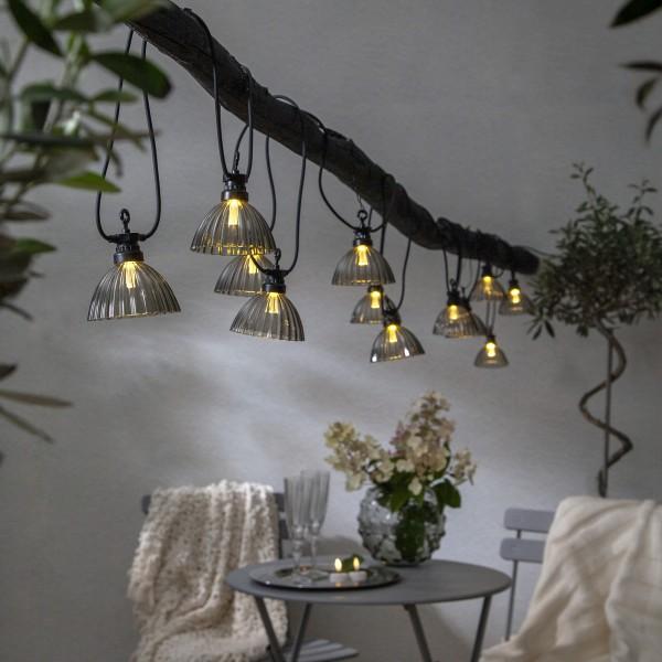 LED Lichterkette LAMPENSCHIRM - 12 warmweiße LED - L: 4,95m - Outdoor - rauchgrau