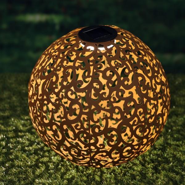LED Solar Dekokugel - Rost-Look - 1 warmweiße LED - D: 28,5cm - Metall - für Boden