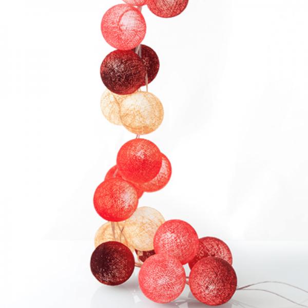 good moods* BEERENKOMPOTT - Ball-Lichterkette mit 20 Stoffkugeln - 20 warmweiße LEDs