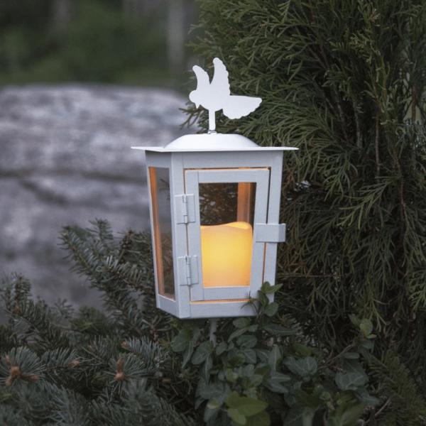 "LED Laterne ""Serene"", mit Stab - weiß - gelbe LED - H: 40cm D: 12,5cm - Timer"