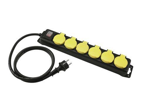 Stromkabel / Verlängerung | 6-Fach | Schutzkontakt | Outdoor| 3x1,5mm² | 1.50m
