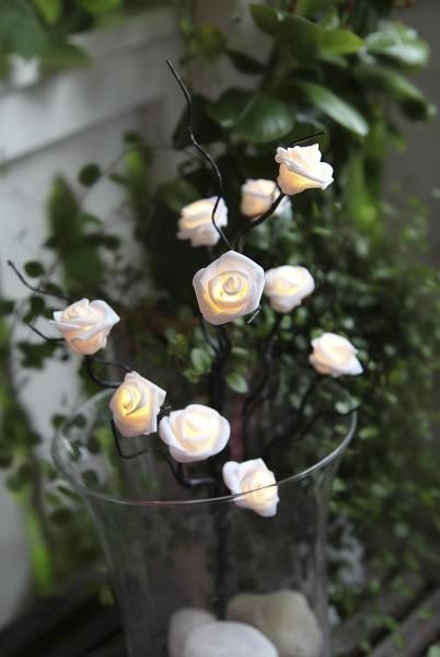 "LED-Rosenzweig ""SNOW"" - 10 Rosen mit warmweißer LED - H: 50cm - Batterie - Timer"