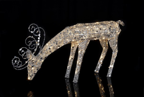 "LED-Rentier mit Pailletten ""Sequini"" - 96 warmweiße LEDs - H: 55cm - silberne Pailletten - Outdoor"